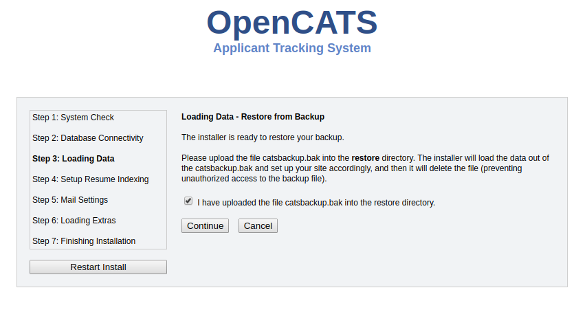 OpenCATS Backup/Restore and Upgrade Instructions-THIS SECTION