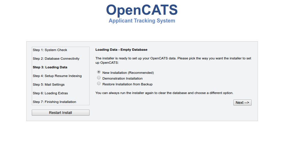 Install-CentOS 7 — OpenCATS 0 9 3 documentation